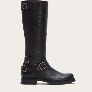Frye Veronica Back Zip Black Boots